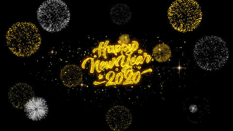 2020 Happy New Year Golden Text Blinking Particles with Golden Fireworks Display Footage