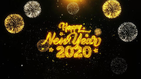 Happy New Year 2020 Wishes Greetings card, Invitation, Celebration Firework Live Action