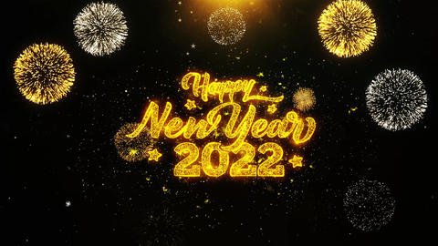Happy New Year 2022 Wishes Greetings card, Invitation, Celebration Firework Footage