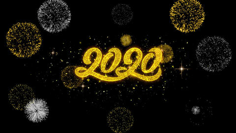 2020 New Year Golden Text Blinking Particles with Golden Fireworks Display Live Action