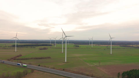 Windmill Wind power technology - Aerial drone view on Wind Power, Turbine Footage