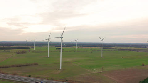 Windmill Wind power technology - Aerial drone view on... Stock Video Footage