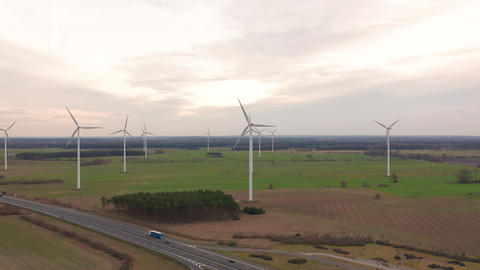 Windmill Wind power technology - Aerial drone view on Wind Power, Turbine Live Action