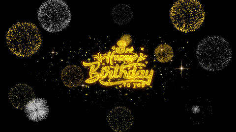 3rd Happy Birthday Golden Text Blinking Particles with Golden Fireworks Display Footage