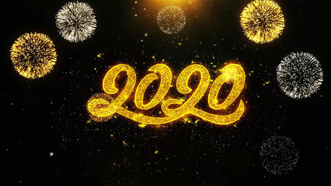 2020 New Year Wishes Greetings card, Invitation, Celebration Firework Looped Live Action