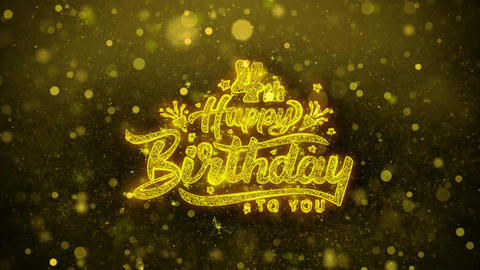 4th Happy Birthday Wishes Greetings card, Invitation, Celebration Firework Live Action