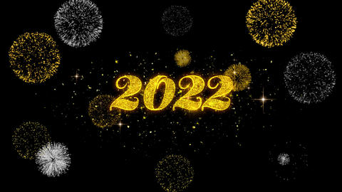 Happy New Year 2022 Golden Text Blinking Particles with Golden Fireworks Display Footage
