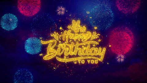 4th Happy Birthday Greeting Text Sparkle Particles on Colored Fireworks Live Action