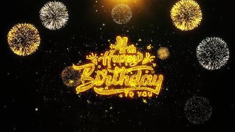 4th Happy Birthday Wishes Greetings card, Invitation, Celebration Firework Footage