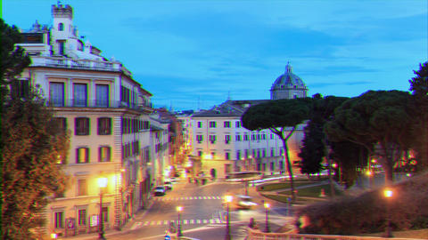 Glitch effect. Piazza D'Aracoeli at sunrise, Rome, Italy. Time Lapse Live Action