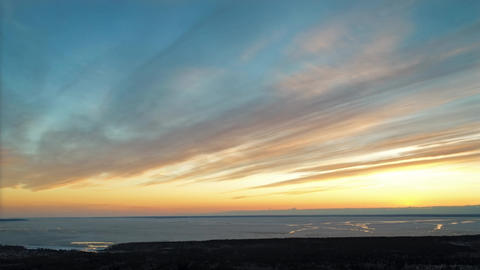 Aerial Sunset in Siberia Footage