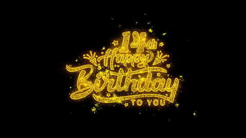 14th Happy Birthday Typography Written with Golden Particles Sparks Fireworks Live Action