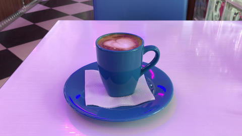 Hot cappuccino on the table GIF