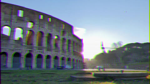 Glitch effect. Colosseum, Sunrise.Time Lapse. Rome, Italy Live Action