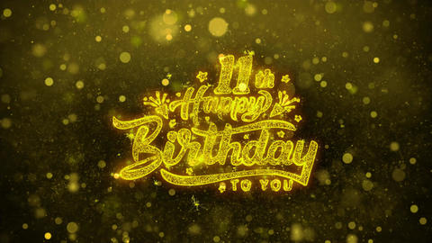 11th Happy Birthday Wishes Greetings card, Invitation, Celebration Firework Live Action