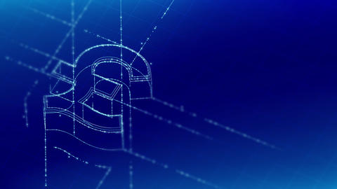 Currency GBP (Pound Sterling) isometric symbol particle line lighting frame structure pattern Animation