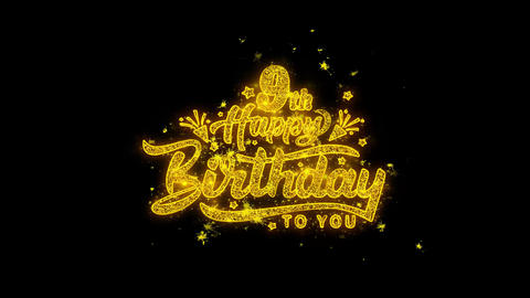 9th Happy Birthday Typography Written with Golden Particles Sparks Fireworks Live Action