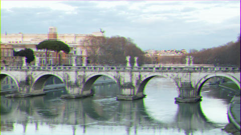 Glitch effect. Ponte Sant'Angelo. Sunset. Zoom. Rome, Italy. Time Lapse Archivo