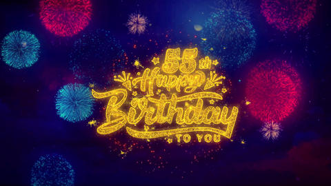 55th Happy Birthday Greeting Text Sparkle Particles on Colored Fireworks Footage