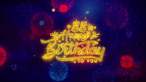 55th Happy Birthday Greeting Text Sparkle Particles on... Stock Video Footage