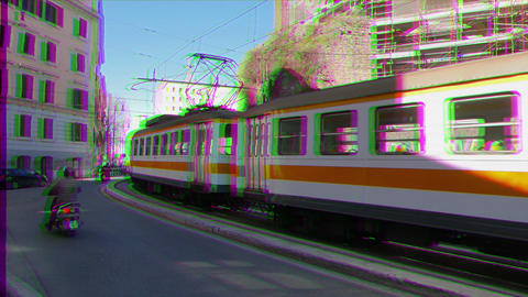 Glitch effect. Tram with three wagons, Rome. Italy Footage