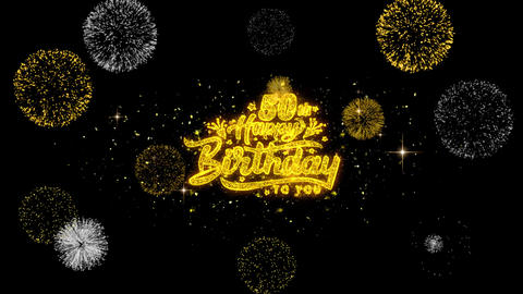 50th Happy Birthday Golden Text Blinking Particles with Golden Fireworks Display Live Action