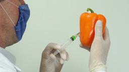 Scientist Injecting Pepper Over Shoulder Footage
