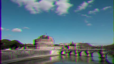 Glitch effect. Castle of San Angelo, Panorama, Rome, Italy. Time Lapse Live Action