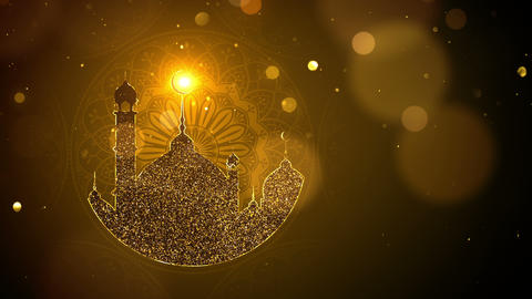 Ramadan background looped, gold color Animation