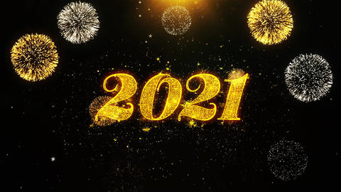 Happy New Year 2021 Wishes Greetings card, Invitation, Celebration Firework Live Action
