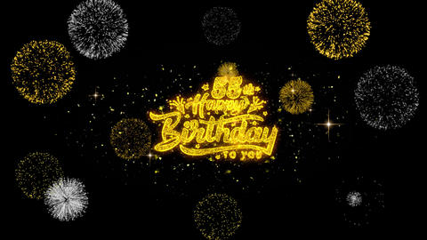 55th Happy Birthday Golden Text Blinking Particles with Golden Fireworks Display Footage