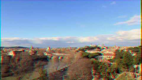 Glitch effect. River Tibr, view from the Giardino degli Aranci. Rome, Italy. Time Lapse Live Action