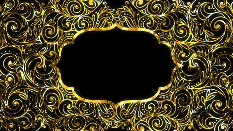 Gold Ramadan kareem frame background with space for your text. Alpha and looped Animation