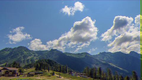 Glitch effect. Rosa Khutor Plateau. HDR, Sochi, Russia. Time Lapse Footage