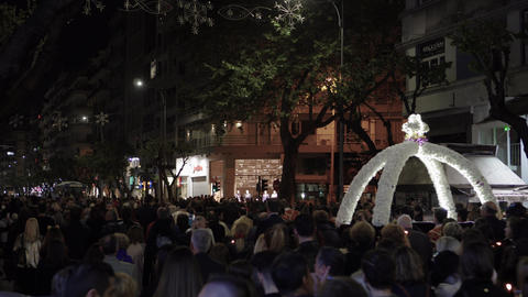 Good Friday Orthodox Easter Epitaph procession in Thessaloniki, Greece Live Action