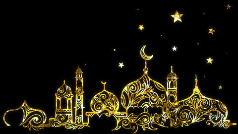 Ramadan background with mosque, crescent moon and star background, looped and alpha Animación