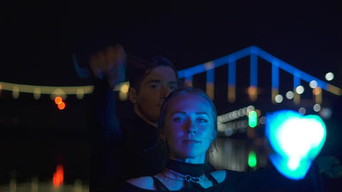 Portrait shot of two artists in black suits that spin the... Stock Video Footage