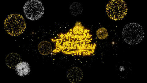 65th Happy Birthday Golden Text Blinking Particles with Golden Fireworks Display Live Action