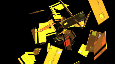 Gold Credit cards on black background Stock Video Footage