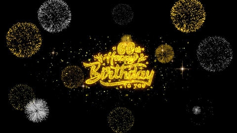 60th Happy Birthday Golden Text Blinking Particles with Golden Fireworks Display Footage