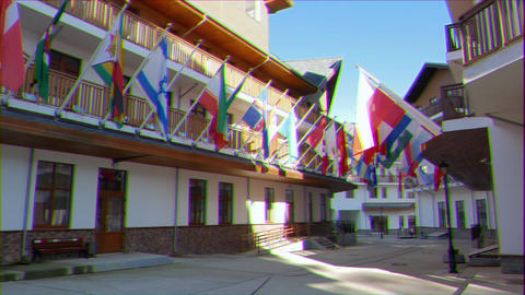 Glitch effect. Flags on the Rosa Khutor Plateau. Russia, Sochi Footage
