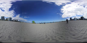 360 vr video of white sand and lifeguard tower in world famous Miami Beach, FL VR 360° Video