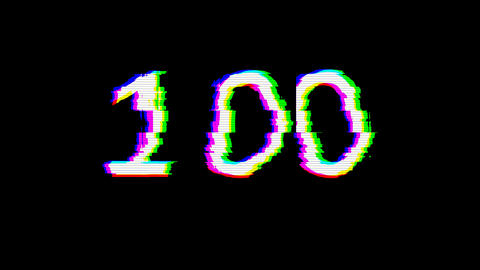 From the Glitch effect arises number one hundred 100. Then the TV turns off. Alpha channel Animation