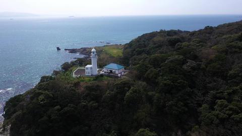 観音埼灯台と海の空撮 ビデオ