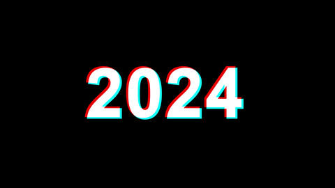 New Year 2024 Glitch Effect Text Digital TV Distortion 4K Loop Animation Live Action