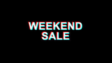 Weekend Sale Glitch Effect Text Digital TV Distortion 4K Loop Animation Live Action