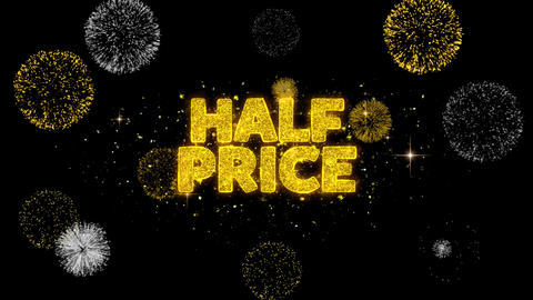 Half Price Golden Text Blinking Particles with Golden Fireworks Display Footage