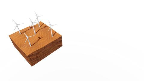 [alt video] Wind turbines in sandy desert on white background