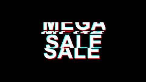 Mega Sale Glitch Effect Text Digital TV Distortion 4K Loop Animation Footage