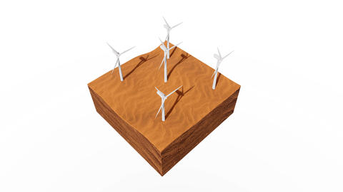 Wind turbines in sandy desert concept 3D animation Animation